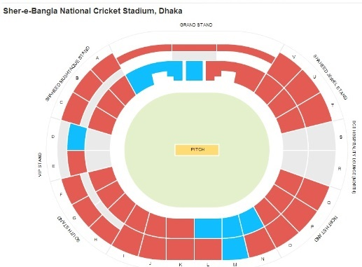 Mirpur Sher e Bangla Stadium Seating Chart and Map