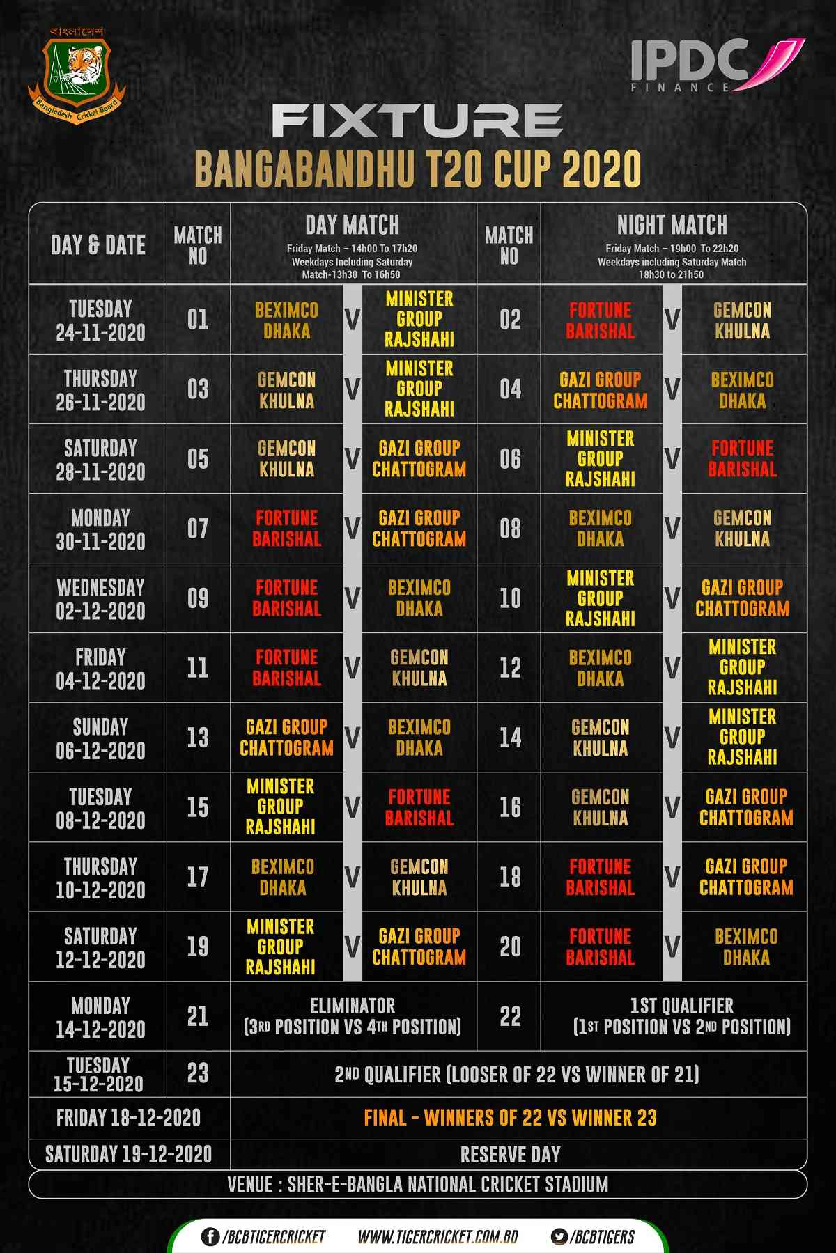 bpl 2020 schedule time table